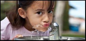 Girl & water fountain