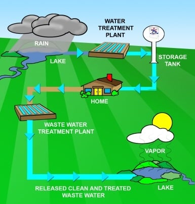 Infographic showing the cycle of surface water through water treatment, home use, wastewater treatment and back into surface water.