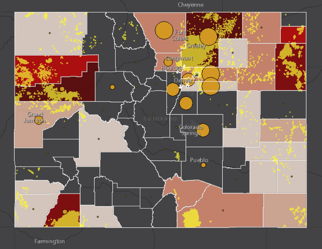 Map showing correlation of asthma attacks, oil & gas production facilities and air toxics.