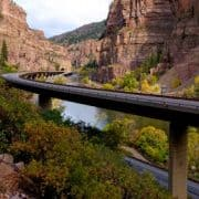 Highway bridge elevated above the Colorado River to avoid stream channelization