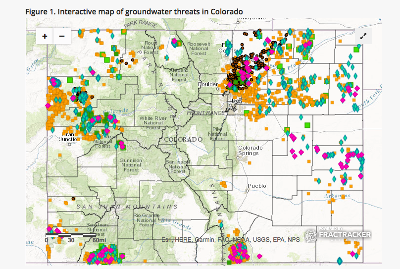 Distribution of oil & gas spills and storage facilities in CO