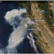 Smoke billowing across the ocean from Mendocino to San Francisco