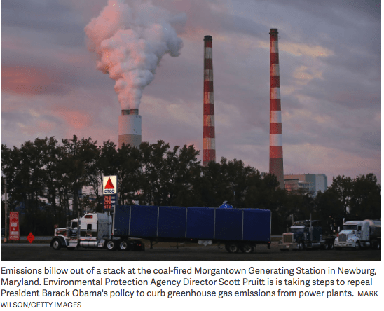 Emissions from power plant stacks in Newburg, Maryland.