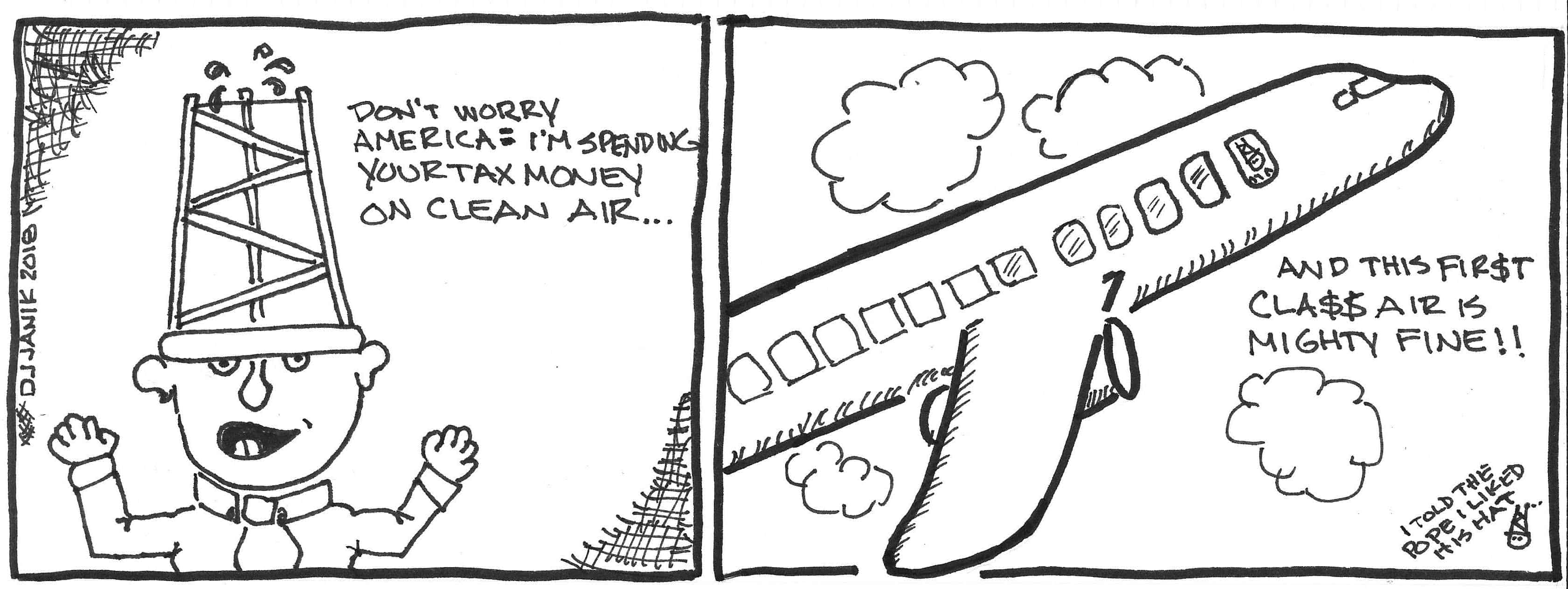 Cartoon with jumbo jet